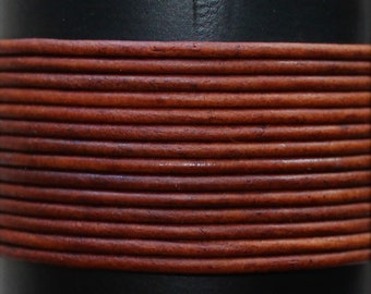 Natural Red Brown / 1.5mm Leather Cord / leather by the yard / round leather cord / genuine leather / necklace cord / bracelet cord