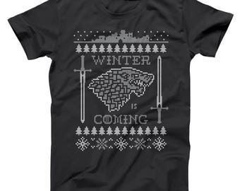 Winter Is Coming Ugly Christmas Sweater Funny Got Xmas Humor Game Of Thrones Basic Men's T-Shirt DT1612