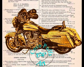 Yellow Bagger Motorcycle Drawing Art Beautifully Upcycled Vintage Dictionary Page Book Art Print
