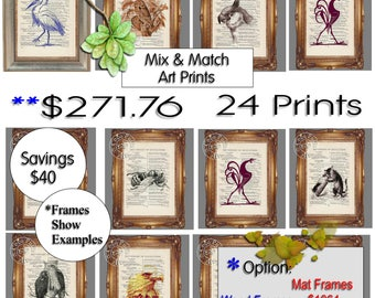 24 ART PRINT SPECIALS - Mix & Match Art Prints Beautifully Upcycled Dictionary Page Book Art Print