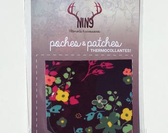 Iron-on pocket, iron-on patch, roses, flowers, monochrome, monochromatic, grey, black, tropical, thermoadhesive, applique, hot iron, patches