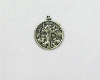 Sterling Silver Saint Francis of Assisi Medal or Charm