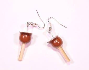 Chocolate Candy Apple earrings
