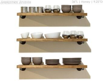 Rustic Floating Shelves, Pipe Bracket Shelves, Open Kitchen Shelves,  Farmhouse Kitchen, Laundry