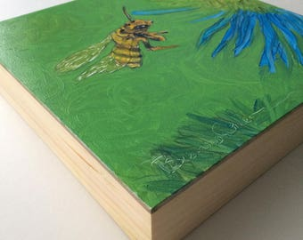 Bee painting, Original impressionistic oil painting of a Honey Bee, original by BlevinsCohea, Honey Bee Oil on cradled panel, bee art, bees