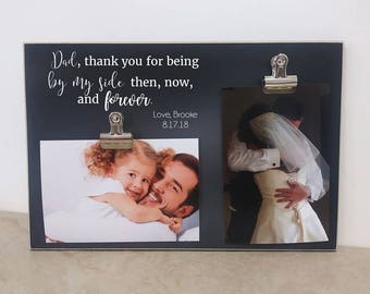 Father Daughter Photo Frame, Father Of The Bride Gift, Personalized Gift For Dad, Custom Picture Frame, Wedding Ideas, Wooden Frame, 8x12