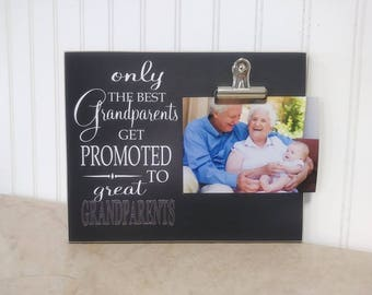 Only The Best Grandparents Get Promoted to Great Grandparents Photo Frame, Grandparent Promotion, Pregnancy Reveal, Grandparents Day Gift