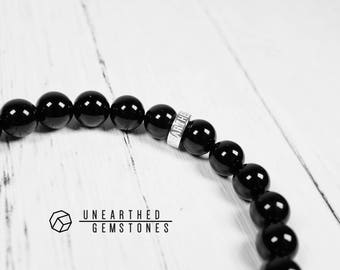 Onyx Bracelet - Black Bracelet, Men's Bracelet, Men Agate Bracelet, Mens Jewelry, Lucky Bracelet, Black Beaded Bracelet