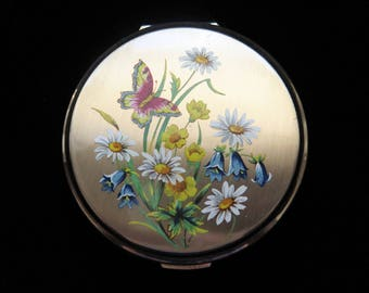 Vintage Powder Compact Stratton With Butterfly And Wild Flowers 1950's Wedding, Bridesmaid