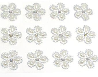 12 x Self Adhesive Flower Pearl and AB Diamante Embellishment Stick on Gems