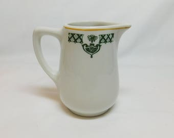 Vintage Sterling Vitrified China Creamer D-8 Restaurantware Restaurant Ware Green Gold Design White Porcelain Small Pitcher Made in USA