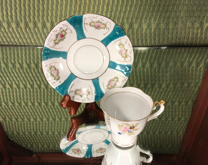 Blue Floral China Demitasse Tea Cup and Saucer, Occupied Japan, Hand Painted, Vintage