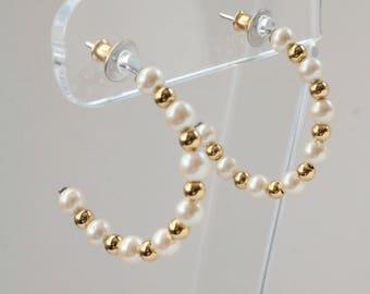 Pearl Hoop Earrings - Gold Hoop Earrings