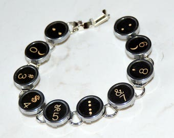Typewriter Key Bracelet - Vintage Style Upcycled Typewriter Key Bracelet with Black Numerical Keys.  Unisex Gift.