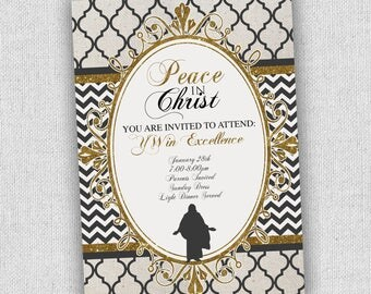 Young Women 2018 theme new beginnings or yw in excellence invitation, gold black white elegant invitation, yw invitations, peace in christ