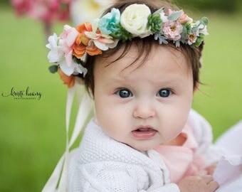 Baby Succulent Flower Crown- Pink, Peach & Orange Succulent Halo - Flower Girl Crown - Succulent and Rose Flower Crown- Photo Prop