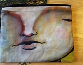 15 I SEE YOU -- large reclaimed canvas zipper pouch