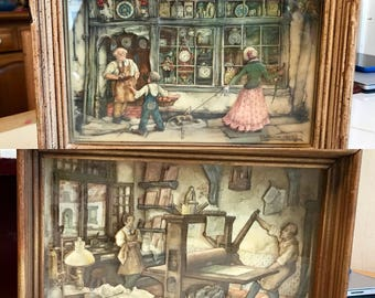 Set of vintage Anton Pieck framed 3D shadow boxes signed clock and print shop