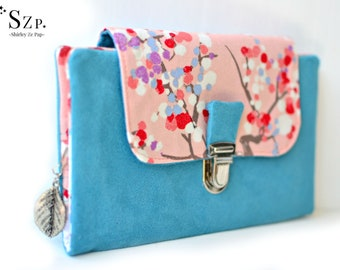 Portefeuille femme complet, portefeuille rose et bleu, coton fleurs de cerisier, porte-monnaie, cartes, chéquier, papiers. Suedine et coton
