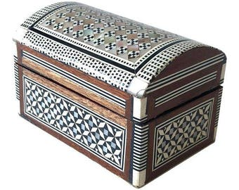 Vintage Moroccan Inlaid Mother-of-Pearl and Wood Box
