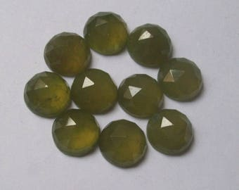 5 pieces 6mm GREEN VESSONITE rose cut Round Cabochon Gemstone