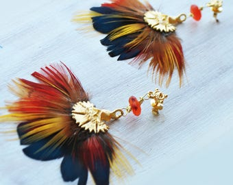 Multicolored carnelian and gold plated pheasant feather earrings