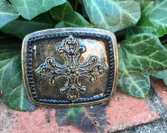 Cross belt buckle embellished Buckle brass Filigree cross mens belt buckle women's buckle Cowgirl Bohemian Southwestern religious jewelry