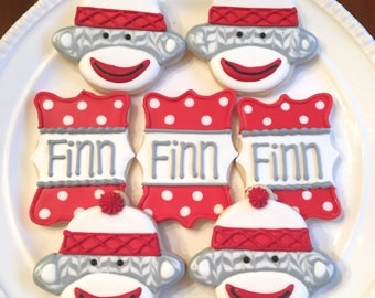 Sock Monkey Cookies | Sock Monkey | Personalized Cookies | Baby Shower Cookies | First Birthday Cookies | One Dozen