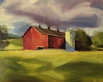 "Original Red Barn Oil Painting, Farm Art, 10""x8"""