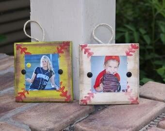 Christmas tree ornaments; baseball and softball ornaments; picture frame ornaments; photo ornaments; holiday decor