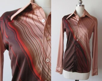 70's silky disco shirt / Don Manuel of Miami shirt size extra small