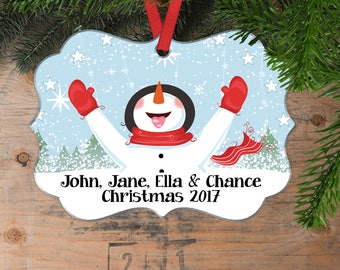 Personalized Family Christmas Ornament - Family Christmas Gift - Family christmas decoration - Blue Ornament - Snowman