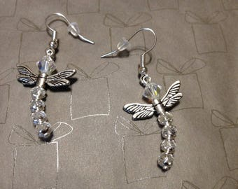 Small Dragonfly crystal earrings silver