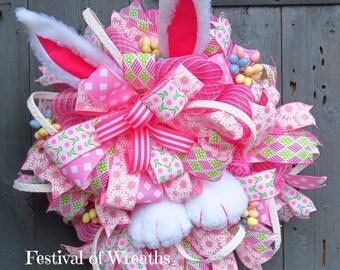 Easter Wreath - Easter Deco Mesh Wreath - Easter Bunny Wreath for Front Door - Easter Bunny Decor - Easter Door Wreath - Easter Bunny