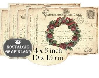 Postcards Vintage Christmas Wreath 6 x 4 inch printable Instant Download digital collage sheet D177