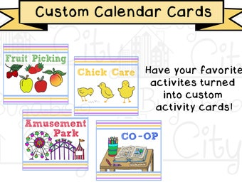 Custom Activity Cards for Children's Calendar - Additional cards made to order - Digital File