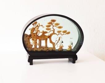 Vintage Asian Black Lacquer Diorama / Cork Carving Asian Art Sculpture /  Cranes Bonsai Trees Pagoda Diorama / Asian  Black Lacquer Art Work