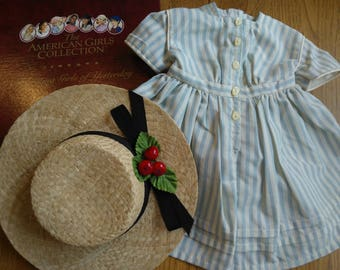 American Girl Kirsten's Summer Dress and Straw Hat ... Kirsten's Fishing Dress ...New in Original Box ... Mint Vintage Condition ... Retired