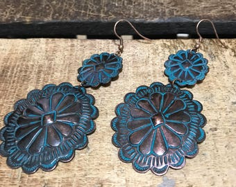 Bronze/turquoise stone dangle earrings