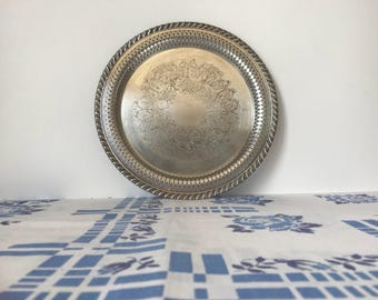 Small Wm A Rogers Round Silverplate Tray * Silver Plate Tray * Vintage Silverplate Tray