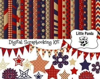 60% OFF SALE 4th of July Digital Scrapbook Kit - Instant Download - D269