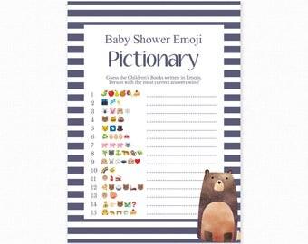 Baby Shower Game - Blue Bear Shower -  Emoji Pictionary - Woodland Baby Shower Printable - Baby Shower Emoji Game - Blue Bear - Woodland