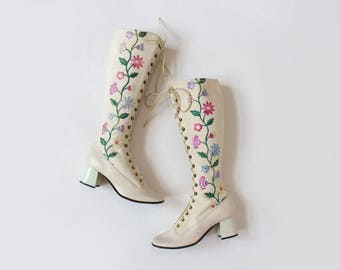 ON LAYAWAY Please Do Not Buy >> 1960s Embroidered Knee High Boots { 7.5-8 } Vintage 60s Floral Riding Boots