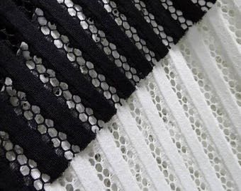 "Black and white sandwich fabric, mesh fabric, stripe fabric, air layer fabric, fashion fabric - HTAOB- 145 cm/57"" wide"