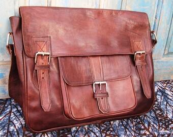 """bag """"Simon"""" chocolate brown soft leather amber"""