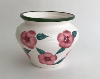 Ceramic Pot, Succulent Pot, Painted Pot, Folk Art Pot, Painted Flower Pot, Indoor Pot, House Warming Gift, Gift Exchange, Pink & Green