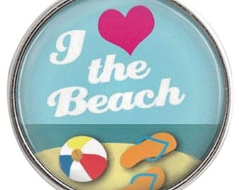 C1097  Art Glass Print Chunk - I <3 the Beach