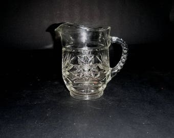 EAPC milk pitcher,  Anchor Hocking, Early American Prescut, Star of David, Fan Star, pressed glass pitcher