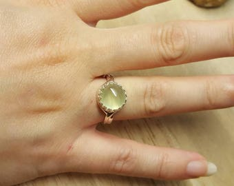 Sterling silver Prehnite ring. Archangel Raphael ring. Reiki jewelry uk. Libra jewelry. Adjustable ring. 10mm stone