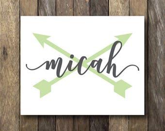 Custom Name Printable - Baby Name Sign - Personalized Nursery Art - Name Printable - Custom Name Print